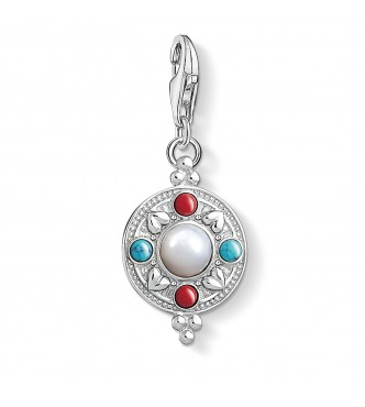 "Thomas Sabo Charm pendant ""Lotus Coin"" 925 Sterling silver/ simulated coral/ simulated turquoise/ mother-of-pearl multicoloured"
