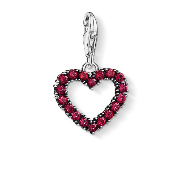 """Thomas Sabo Charm pendant """"Ruby heart"""" 925 Sterling silver,  blackened/ synthetic corundum red"""