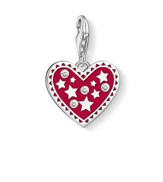 """Thomas Sabo Charm pendant """"Heart and stars"""" 925 Sterling silver,  cold enamel/ zirconia red"""