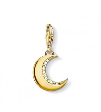 Thomas Sabo Charm pendant moon gold 925 Sterling silver,  gold plated yellow gold/ zirconia white