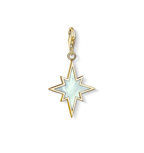 Thomas Sabo Charm pendant 925 Sterling silver,  gold plated yellow gold/ mother-of-pearl white