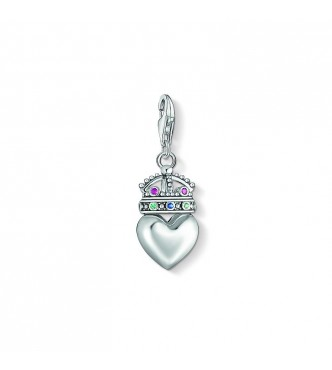 Thomas Sabo Charm pendant 925 Sterling silver,  blackened/ glass-ceramic stone/ synthetic corundum/ synthetic spinel multicoloured