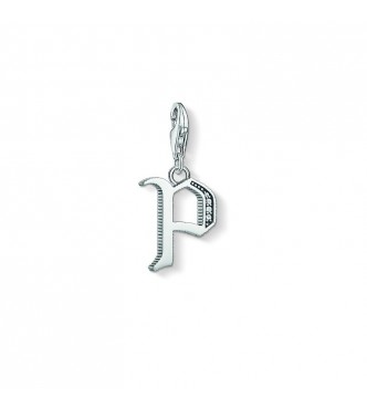 Thomas Sabo Charm pendant 925 Sterling silver, blackened/ zirconia silver-coloured