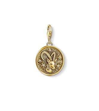 Thomas Sabo Charm pendant 925 Sterling silver, gold plated yellow gold/ zirconia yellow gold-coloured