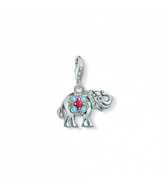 Thomas Sabo Charm pendant 925 Sterling silver, blackened/ glass-ceramic stone/ simulated coral/ synthetic corundum/ zirconia multicoloured