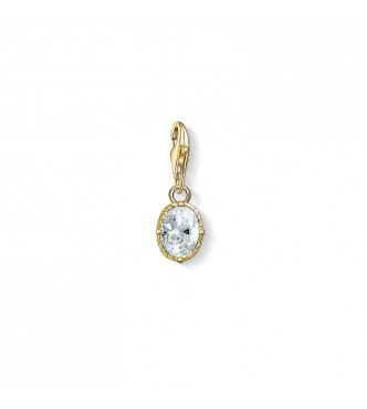 Thomas Sabo Charm pendant 925 Sterling silver,  gold plated yellow gold/ zirconia white