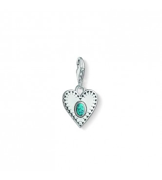Thomas Sabo Charm pendant 925 Sterling silver,  blackened/ simulated turquoise turquoise