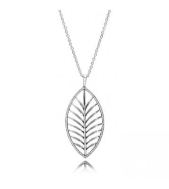 Palm tree silver pendant with cubic zirconia and necklace