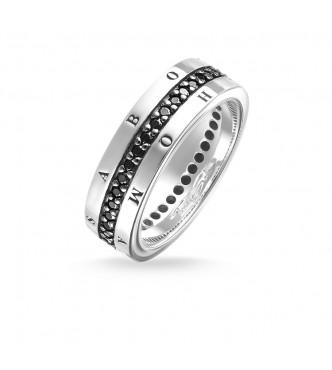 Thomas Sabo Men's ring 925 Sterling silver/ zirconia black