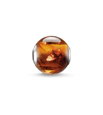 Thomas Sabo Bead amber 925 Sterling silver/ reconstructed Amber brown