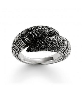 Thomas Sabo ring 925 Sterling silver, blackened/ zirconia black