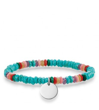 Thomas Sabo bracelet, appr. 16,5 cm 925 Sterling silver/ agate/ amethyst/ dyed bamboo coral/ simulated malachite/ simulated turquoise multicoloured