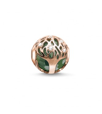Thomas Sabo Bead green tree 925 Sterling silver,  gold plated rose gold/ aventurine/ zirconia green