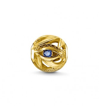 Thomas Sabo Bead eye of Horus 925 Sterling silver, gold plated yellow gold/ synthetic spinel dark-blue