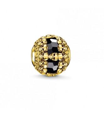 Thomas Sabo Bead skulls 925 Sterling silver,  gold plated yellow gold/ onyx black