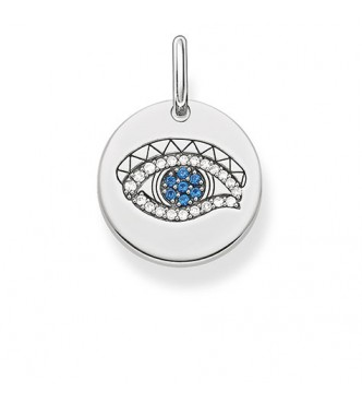 Thomas Sabo pendant 925 Sterling silver, blackened/ synthetic spinel/ zirconia dark-blue