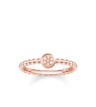 Thomas Sabo ring 925 Sterling silver, gold plated rose gold/ white diamond white