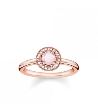 Thomas Sabo ring 925 Sterling silver, gold plated rose gold/ white diamond/ rose quartz pink