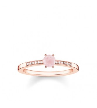 Thomas Sabo ring 925 Sterling silver, gold plated rose gold/ white diamond/ rose quartz pink
