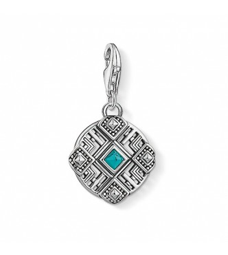 Thomas Sabo Charm pendant Africa ornaments 925 Sterling silver,  blackened/ simulated turquoise turquoise