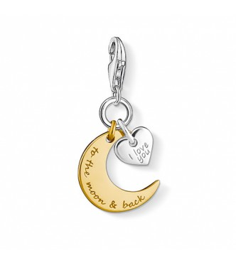 Thomas Sabo Charm pendant moon & heart I LOVE YOU TO THE MOON & BACK 925 Sterling silver, gold plated yellow gold yellow gold-coloured