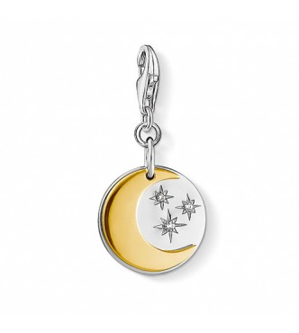 Thomas Sabo Charm pendant moon & stars 925 Sterling silver, gold plated yellow gold/ zirconia yellow gold-coloured