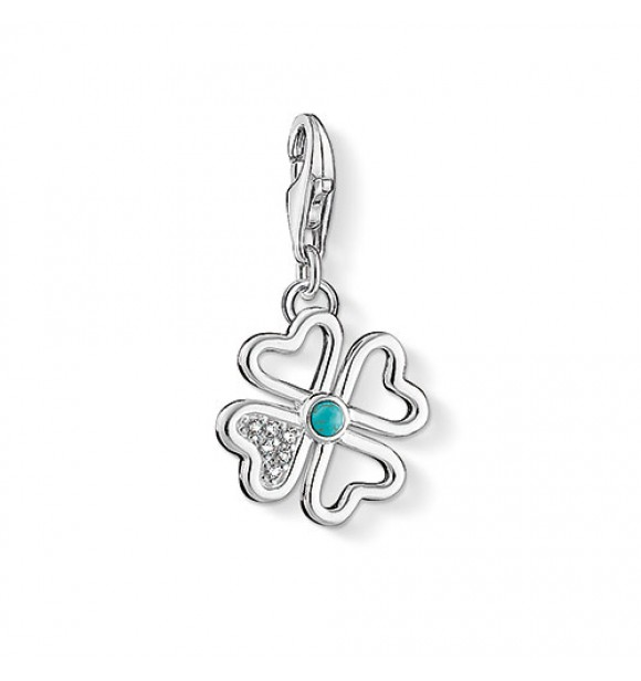Thomas Sabo Charm pendant cloverleaf 925 Sterling silver/ simulated turquoise/ zirconia white