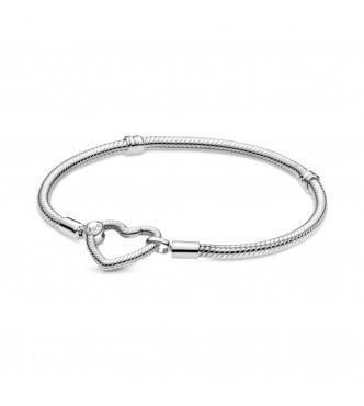 599539C00-16-Pulsera Pandora Moments en plata de ley Cadena de Serpiente Cierre Corazón