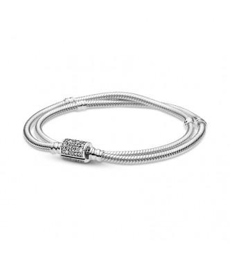 599544C01-D16-Pulsera Pandora Moments en plata de ley Cadena de Serpiente con Cierre Doble Envoltura