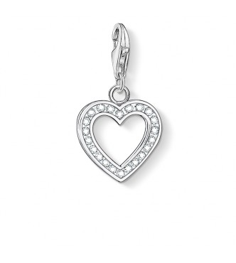 Thomas Sabo Charm pendant heart 925 Sterling silver/ zirconia white
