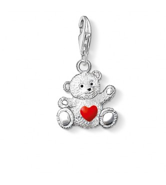 Thomas Sabo Charm pendant charity bear 925 Sterling silver,  cold enamel red