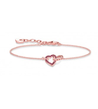 Thomas Sabo bracelet, appr. 16-19 cm, lengthwise adjustable 925 Sterling silver, gold plated rose gold/ synthetic corundum red