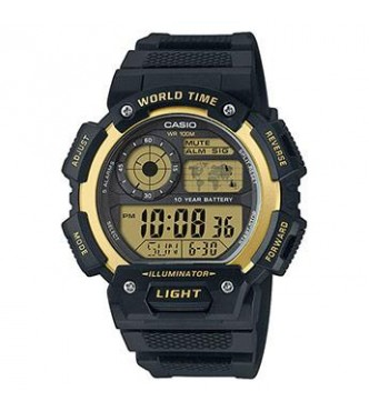 CASIO AE-1400WH-9AVEF Casio Collection Front light world time 10years battery