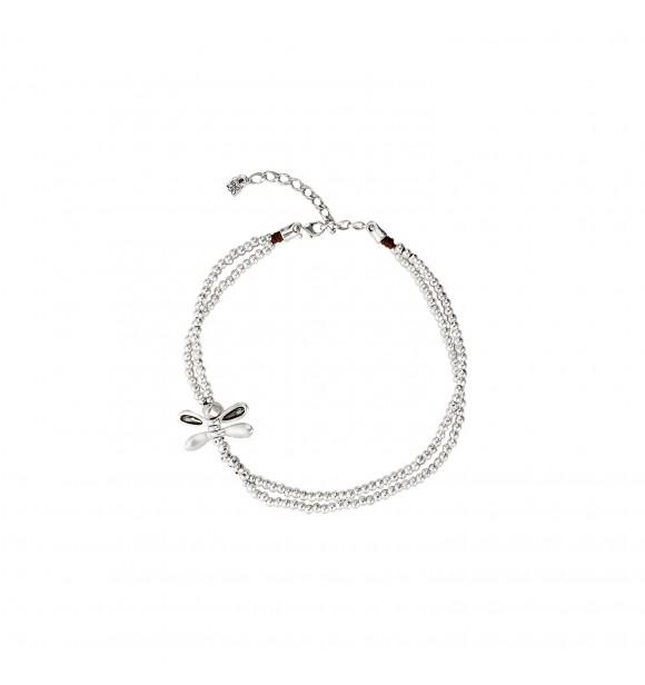 Uno de 50 Colgante de cuero y aleación de metales bañados en plata y cristal SWAROVSKI® ELEMENTS. LITTLE DRAGON-FLY METAL GRIS MARRÓN