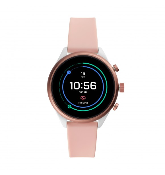 FOSSIL DISPLAY WATCHES FOSSIL SPORT FTW6022 MIXED SILVER SILICONE NUDE FULL DISPLAY 41MM 5ATM