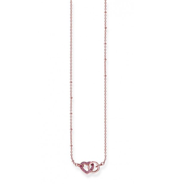 Thomas Sabo necklace, appr. 40/42,5/45 cm 925 Sterling silver, gold plated rose gold/ synthetic corundum red