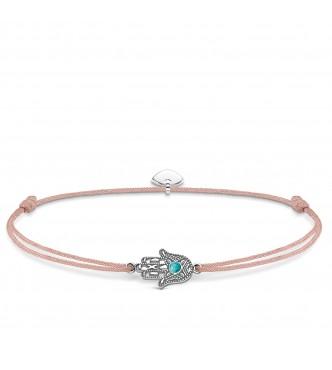 Thomas Sabo bracelet, appr. 14-20 cm, lengthwise adjustable 925 Sterling silver/ simulated turquoise/ nylon beige