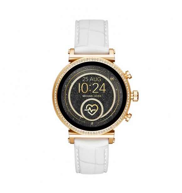 MICHAEL KORS ACCESS  SOFIE MKT5067 GOLD STAINLESS STEEL WHITE SILICONE FULL DISPLAY/RAVEN 41MM 5ATM