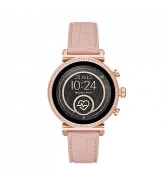 MICHAEL KORS ACCESS  SOFIE MKT5068 ROSE GOLD STAINLESS STEEL PINK SILICONE FULL DISPLAY/RAVEN 41MM 5ATM