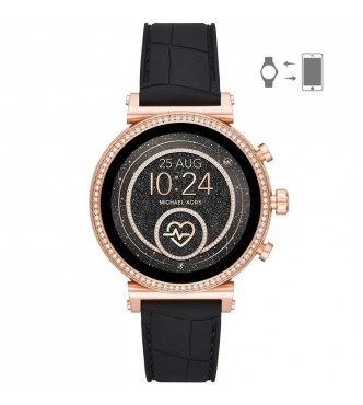 MICHAEL KORS ACCESS  SOFIE MKT5069 ROSE GOLD STAINLESS STEEL BLACK SILICONE FULL DISPLAY/RAVEN 41MM 5ATM