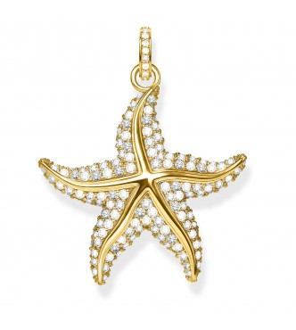 Thomas Sabo pendant 925 Sterling silver, gold plated yellow gold/ zirconia yellow gold-coloured