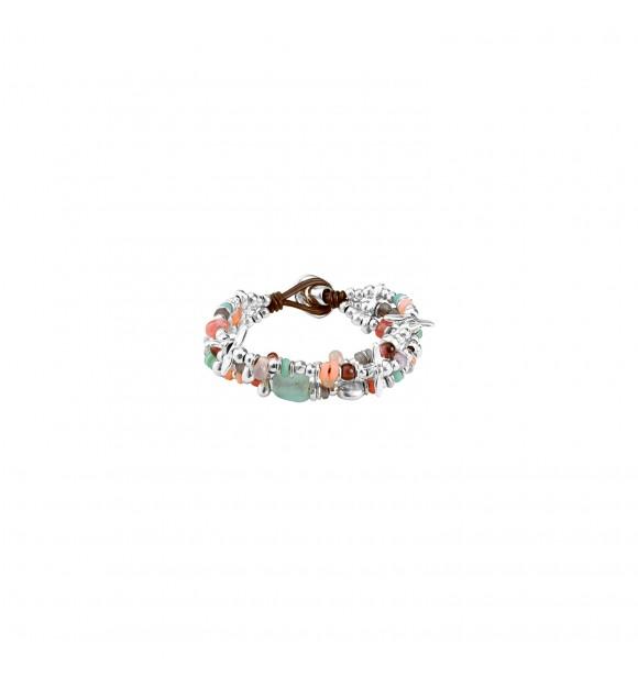 Uno de 50 Pulsera de cuero con aleación de metales bañados en plata y cristales multicolor. LOVE BUBBLE METAL AZUL ROSA GRIS MORADO MARRÓN